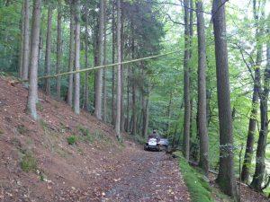 ... um umgeknickter Bäume abzuholzen.